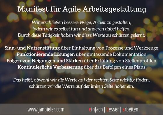 agiles manifest - einfach besser arbeiten - jan bieler
